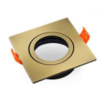 LED Einbaurahmen schwenkbar quadratisch aus Aluminium - Bronze gebürstet